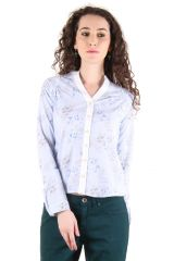 CHIMERA Light Blue Full Sleeves Printed 100% Cotton Shirt For Women