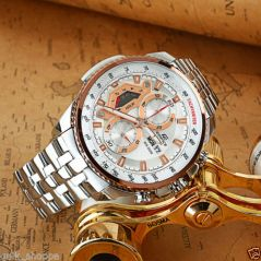 Shop or Gift Casio 558 White And Copper Dial With Silver Chain Watch For Men Online.