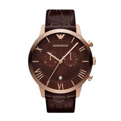 """Armani Men's Watches   Round Dial   Leather Belt   Analog - Imported Emporio Armani Men""""s Brown Leather Ar1616 Wrist Watch"""