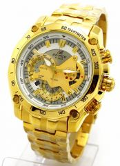 Mens' Watches   Round Dial   Metal Belt   Analog - Casio 550 White Dial Full Gold Chain Watch For Men