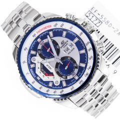 Shop or Gift Casio 558 Blue And White Dial With Silver Chain Watch For Men Online.