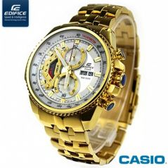 Shop or Gift Casio Edifice 558 White Dial Ang Gold Chain Watch For Men Online.