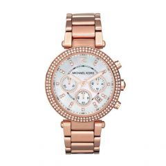 Michael Kors Women's MK5774 Rose Gold-white tone Chronograph Watch.NEW