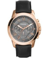 Fossil Men's Watches   Round Dial   Leather Belt   Analog - Fossil Grant Analog Grey Dial Men's Watch - Fs5085