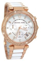 Michael Kors Women's MK5774 Rose Gold-white tone Chronograph Watch.NEW