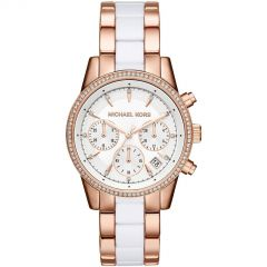 MICHAEL KORS MK 6324 Ritz Chronograph White Dial Rose Gold-tone White Dial