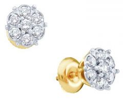 Sheetal Diamond 0.30TCW Real Round Diamond Cluster 14k Yellow Gold Earring At Best Price