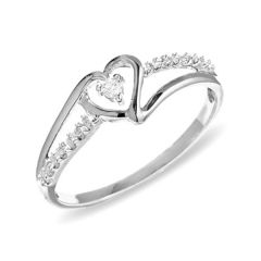Sheetal Diamonds 0.15TCW Real Heart Shape Weddings Ring 14k White Gold R0094