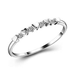 Sheetal Diamonds 0.08TCW Real Round Diamond Heart Shape Engagement Ring In 14k White Gold R0446