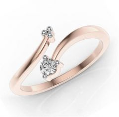 Sheetal Diamonds 0.05TCW Real Round Diamond Single Diamond Ring 14k Rose Gold Ring At Best Price