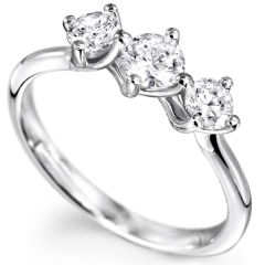 Sheetal Diamonds 0.40Tcw Real Round Shape Three Diamond Party Wear Ring 18K White Gold R0725-18K