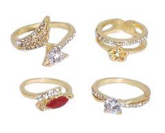 Rings (Imitation) - FashBlush Alloy Cubic Zirconia Yellow Gold Ring Set(Product Code - FB22053)