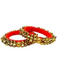 FashBlush Forever Glam Handmade Ghungroo  Shine Alloy Bangle Set (Pack of 2)(Product Code -FB26021)