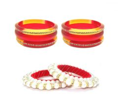FashBlush Red and White Plastic Thread Pearl Handmade Shine (Pack Of 8) (Code FB26135)