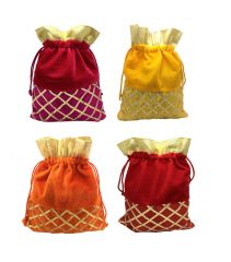 FashBlush Shagun Gift Pouch Potlis (Set Of 4)Multicolor(Product Code - FB68004)
