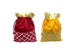 FashBlush Shagun Gift Pouch Potlis  (Set Of 2)(Yellow,Gold,Magenta)(Product Code - FB68005)