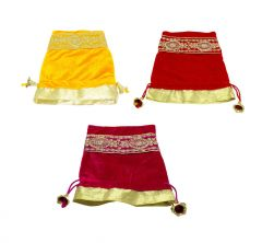 FashBlush Handmade Shagun Gift Pouch Potlis (Set Of 3) Potli  (Yellow, Red, Pink)(Product Code - FB68009)