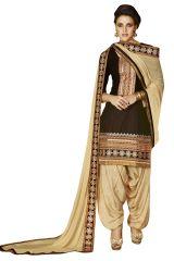 Kvs Fab Women's Clothing - Kvsfab Brown Crepe printed Salwar Kameez, KVSSK2756JODHA_2_PRINTED
