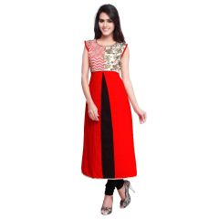 Kvsfab Red Cotton Readymade Embroidered Straight Cut Party Wear Kurti ,KVSKR3907MON