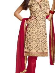 Kvsfab Beige And Maroon Combination And Embroidered Ch Anderi Fabric Suit  - Code(7108Red-1)