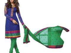 Kvsfab Blue Banarasi Jacquard Top Salwar Suit And Embroidered Schiffli  - Code(8501Sat-9)