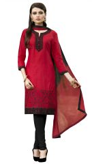 Kvsfab Red & Black Pure Cotton un-stitched dress material ,KVSSK17PRMK