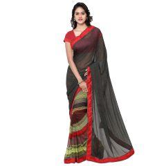 Kvs Fab Women's Clothing - Kvsfab Black Georgette Printed half n half saree, KVSSR7403KAVYA_4
