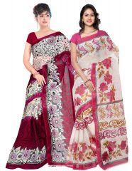 Buy 1 KvsFab Super Net Saree & Get 1 Poly Cotton Saree Free KVSSR8035ABOLI_KVSSR7401KAVYA_2