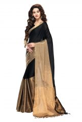 Kvsfab Black Cotton Saree,KVSSR_AARYA Onyx