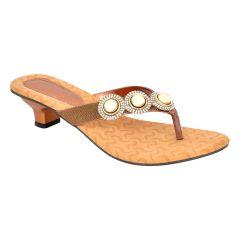 Women's Footwear - Altek Designer Copper Kitten Heel Sandal (Product Code - s1316_copper)