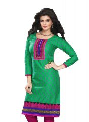 Sinina Green Cotton Embroidered Salwar Kameez Suit Unstitched Dress Material 107Tangy13