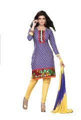Cotton Multi Colour Embroidered Salwar Kameez Suit Unstitched Dress Material 107Tangy22