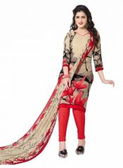 Sinina Red crepe printed unstitched dress material-10VC1573