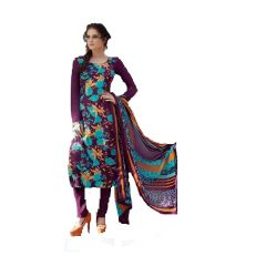 Crepe Embroidered Salwar Kameez Suit Unstitched Dress Material-123Tangy6407B
