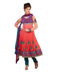 Sinina Women's Clothing - Sinina Womens Georgette Embroidered Semi Stiched Anarkali Salwar Kameez Divine1003