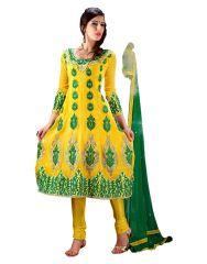 Sinina Yellow Georgette Salwar Kameez Suit Semi Stitched Anarkali Dress Material-Elegant456