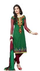 Sinina Green Cotton Embroidered Salwar Kameez Suit Unstitched Dress Material-Espire04