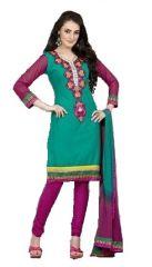 Sinina Blue Cotton Embroidered Salwar Kameez Suit Unstitched Dress Material-Espire09