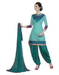 Sinina Women's Clothing - Sinina Women's Patiala Chanderi  Cotton Dress Material
