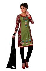 Sinina Green Cotton Embroidered Salwar Kameez Suit Unstitched Dress Material-Lidia86