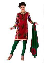 Sinina Red Cotton Embroidered Salwar Kameez Suit Unstitched Dress Material-Lidia92