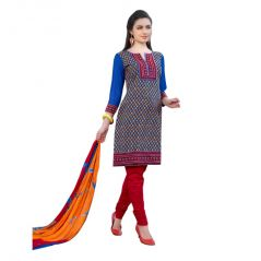 "Sinina Women""s Cotton Embroidered  Straight Salwar Kameez Un Stitched  Dress Material ? LWB306"