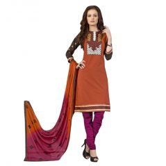 Cotton Brown Embroidered Salwar Kameez Suit Unstitched Dress Material-lwhorize9