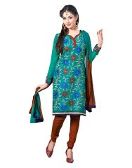 Cotton Embroidered Salwar Kameez Suit Unstitched Dress Material-lwsw56