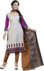 Sinina Women's Clothing - Sinina Women's Cotton White Color Unstitched Dress Material-REDSGP703