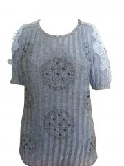 Sinina Blue Cotton Printed Top For Women-T60