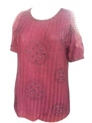 Sinina Red Cotton Printed Top For Women-T62