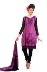 Sinina Purple Cotton Embroidered Salwar Kameez Suit Unstitched Dress Material-Veta59