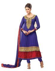 Sinina Anarkali Suits (Unstitched) - Sinina Womens Georgette Embroidered Semi Stiched Anarkali Salwar Kameez Zisa4252