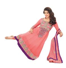 Sinina Anarkali Suits (Unstitched) - Sinina Womens Georgette Embroidered Semi Stiched Anarkali Salwar Kameez Zisa4259
